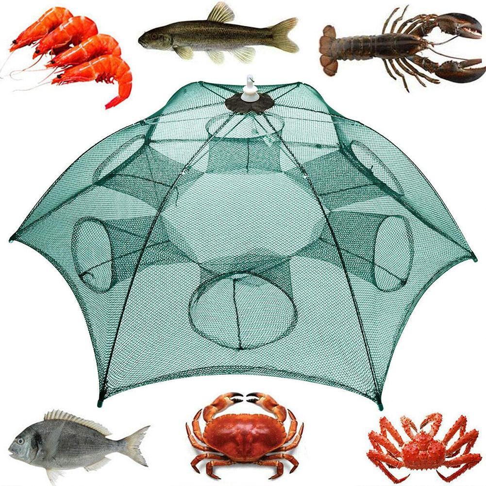Katlanmış balıkçılık tuzak Net 6/10/16/24 delik otomatik balıkçılık Net karides tuzak karides Minnow yengeç yemler Cast örgü balık ağı