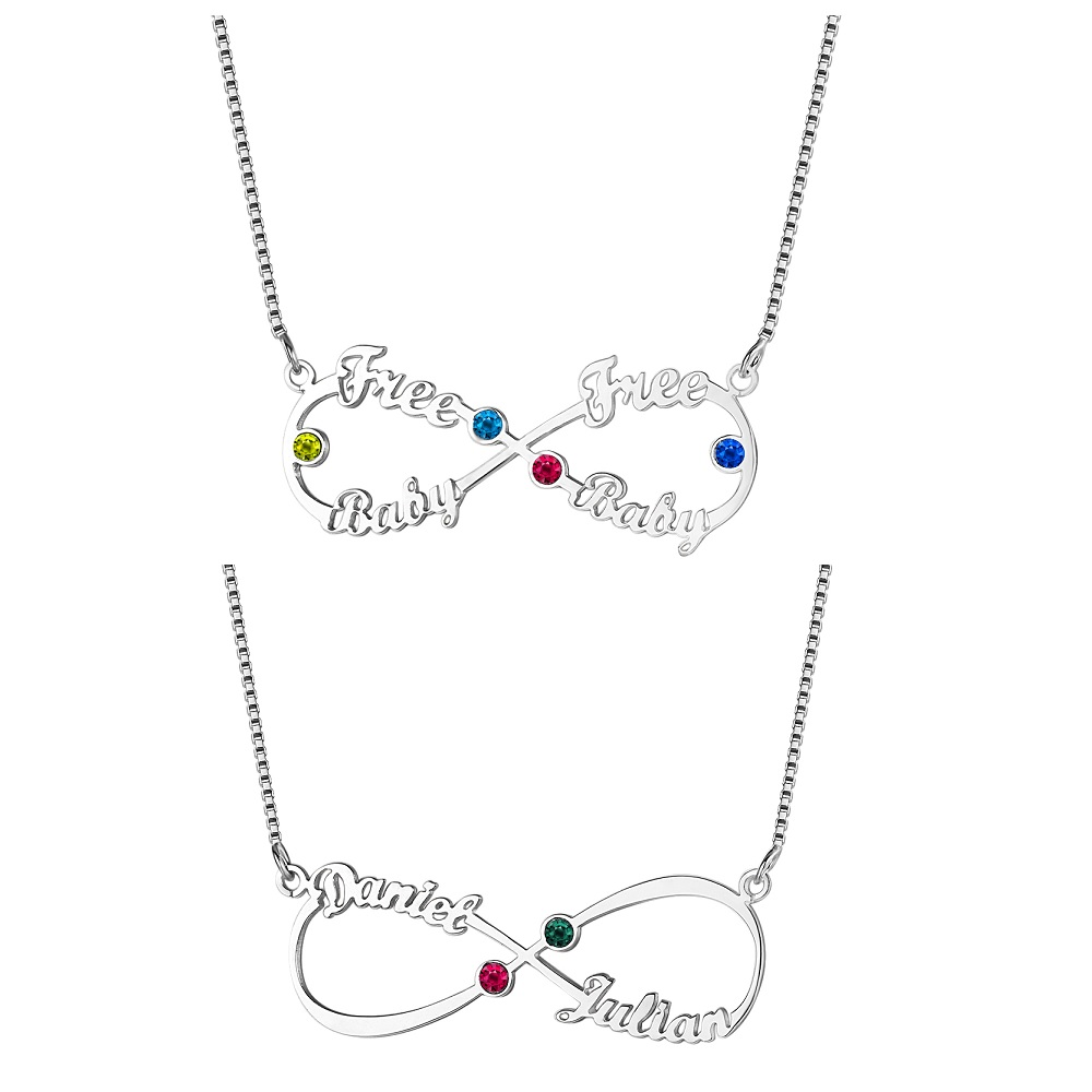 Personalized Birthstones Infinity Nameplate Necklace Custom 2 & 4 Name Necklaces Pendants Jewelry Gift For Mother Grandma Women