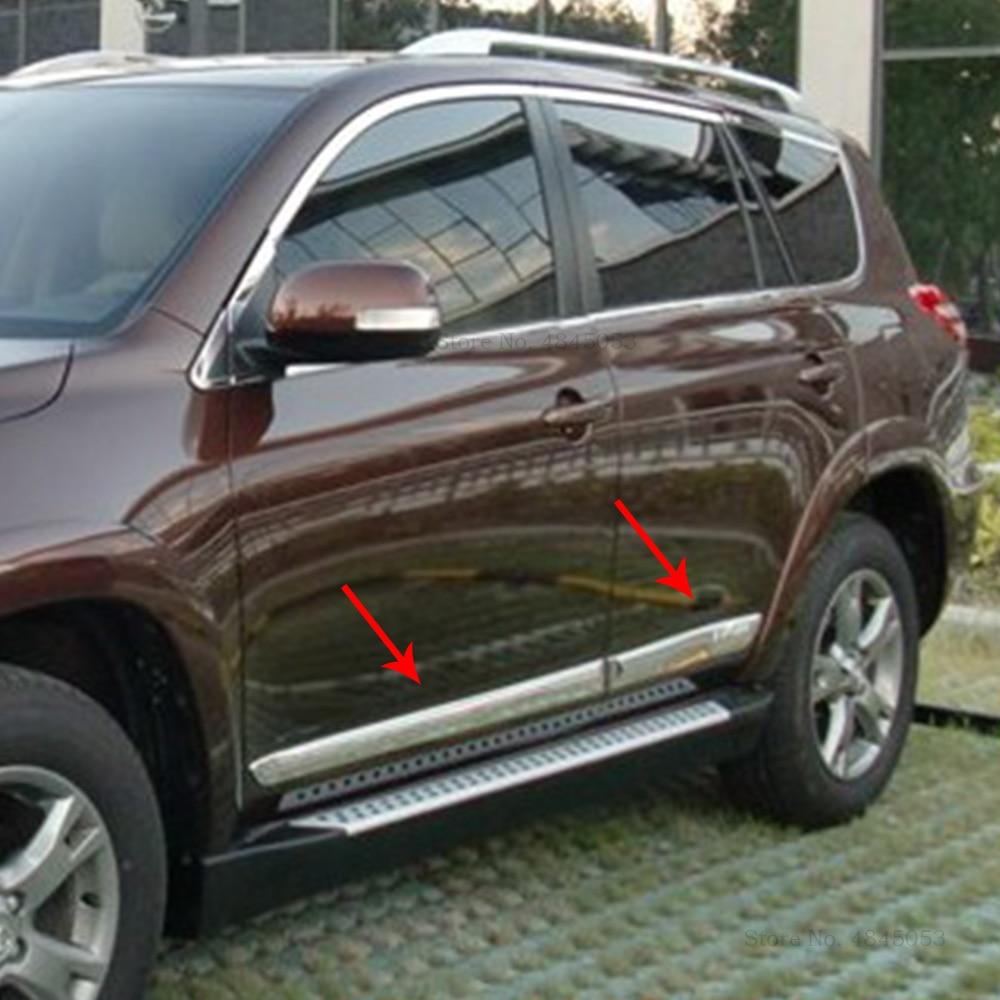 AITWATT pour Toyota RAV4 RAV 4 2009-2013 ABS Chrome moulure de corps de porte latérale moulure de garnissage bande doublure protecteur couverture 4 pièces