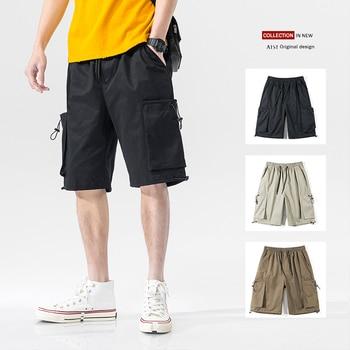 цена на Summer Mens Casual Clothing Designer Oversized Drawstring Shorts for Men Loose Fit Streetwear Cotton Sweatpants Men Cargo Shorts