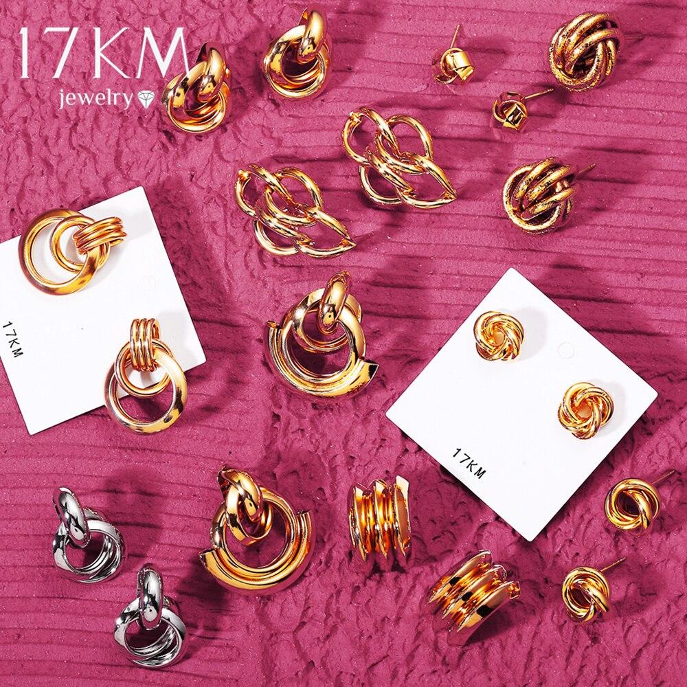 17KM Fashion Gold Stud Earrings 2020 Vintage Knot Earrings For Women Geometric Twisted Love Small Earring Minimalist Jewelry