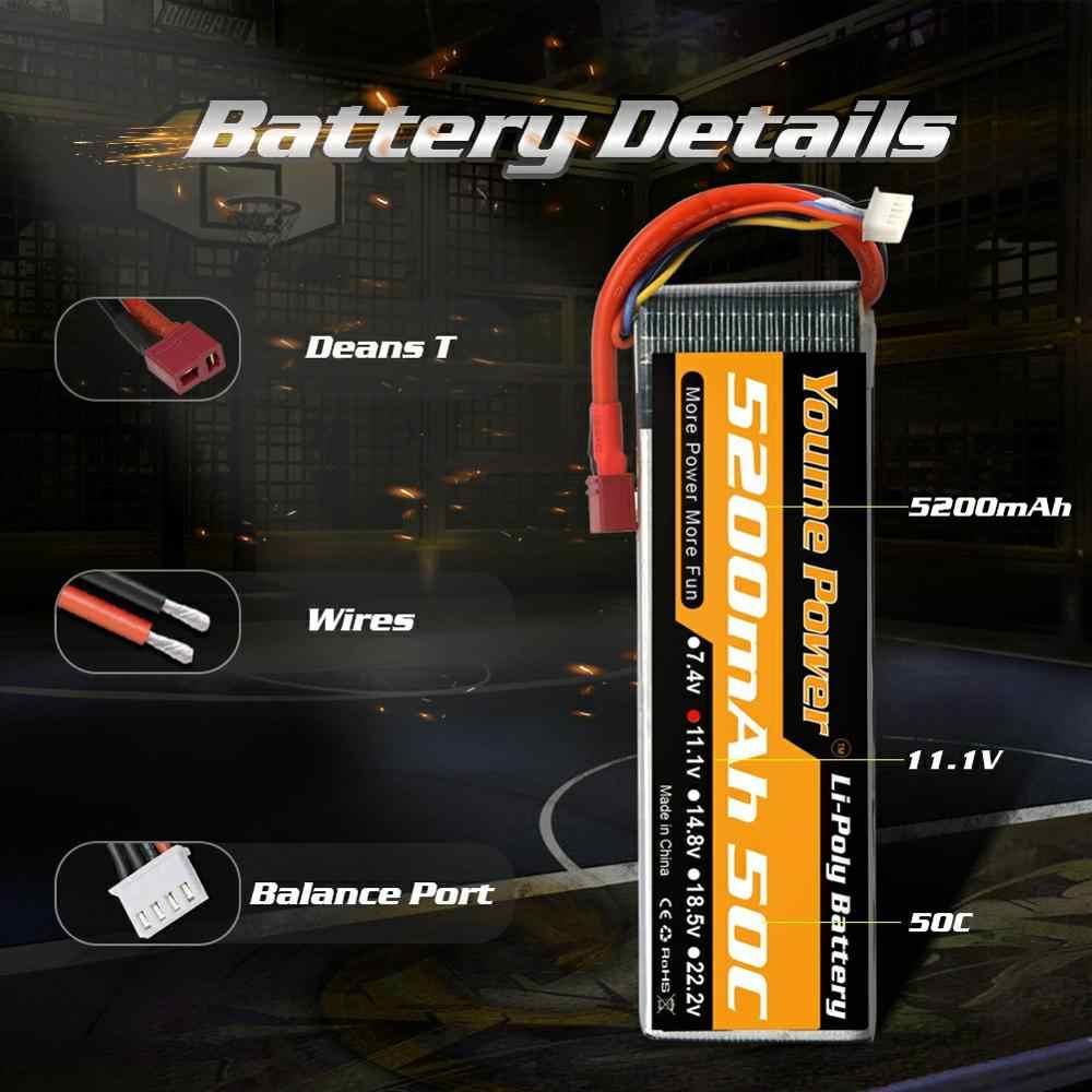 2 Pcs Youme RC Lipo Battery 3S 11.1V 5200 MAh 50C XT60 Dekan 1/10 1/12 Mobil Skala balap Trex-4 Reov 2 Truk Drone RC Boat