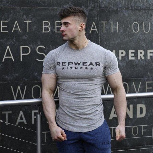 2020 New summer shirt cotton gym fitness men t-shirt brand clothing Sports t shirt male print short sleeve Running t shirt 4