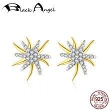 Original Design 925 Sterling Silver Clear Zircon Starfish Stud Earrings Double Star For Women CZ Fine Jewelry genuine 925 sterling silver fashion star stud earrings for women cz starfish wedding fine jewelry