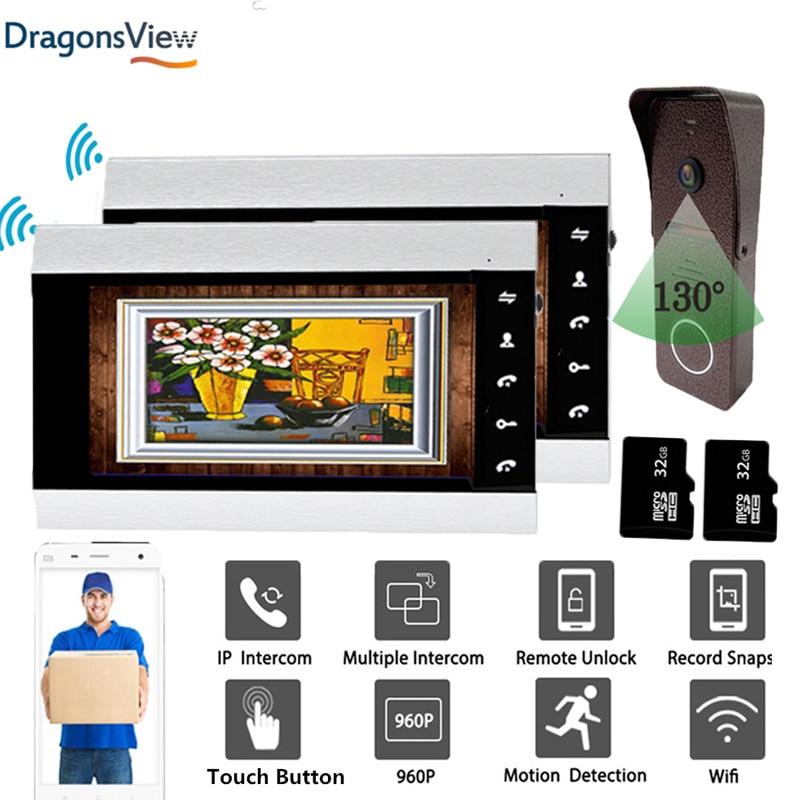 Dragonsview 960P cámara inalámbrica timbre de la puerta del teléfono Wifi Video portero 7 pulgadas Monitor registro de movimiento gran angular 130 ° soporte de desbloqueo Videoportero Dragonsview de 7 pulgadas con bloqueo para puerta de vídeo, timbre de puerta, cámara, botón de desbloqueo, visión nocturna, impermeable
