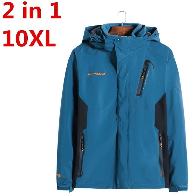 New Plus Size  8XL  7XL Winter Jacket Men`s Cotton Parka Warm 2 In 1 Waterproof Windproof Detachable Hood Winter Coat Big Large