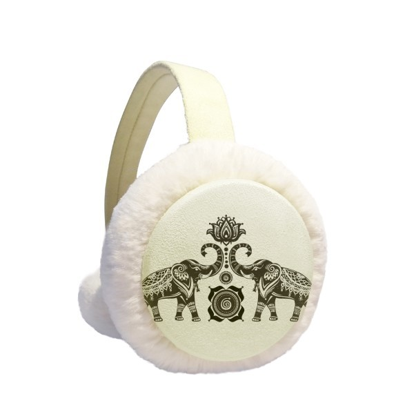 Paint Elephant Friend Two Happy Winter Earmuffs Ear Warmers Faux Fur Foldable Plush Outdoor Gift