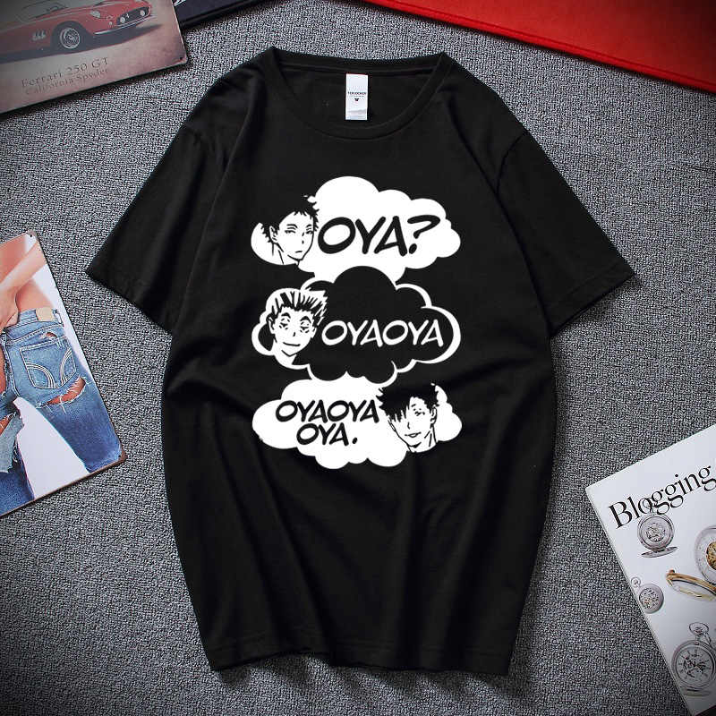 Oya Oya Oya Haikyuu męska koszulka Kuroo Anime Bokuto Manga Shoyo siatkówka kreatywna koszulka z krótkim rękawem koszulka 100% bawełna