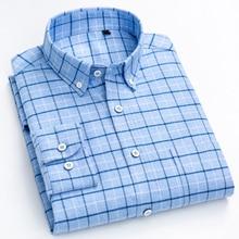 Camisa xadrez de algodão escovado masculina, camisa com bolso único de remendo com manga comprida, camisa casual grossa e confortável