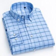 Erkek moda fırçalanmış pamuk damalı ekose gömlek tek yama cep standart fit tam kollu rahat kalın Casual gömlek