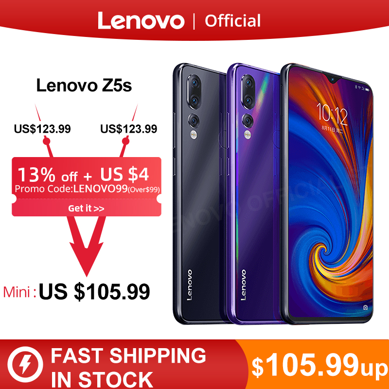 Global Version Lenovo Z5s Snapdragon 710 Octa Core 6GB 128GB SmartPhone Face ID 6.3 AI Triple Rear Camera  Android P Cellphone