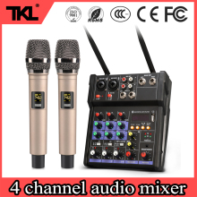 4 Channel Audio Mixer with built Wireless Microphone Bluetooth USB Record Sound Mixer TKL R2 Sound Mixing Console For Home