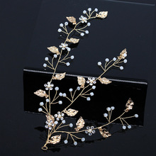 hairpins bride headdress copper crystal alloy leaf wedding hair accessories barrette tiara jewelry H032