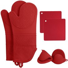 Silicone Heat Resistant Insulation Kitchen Microwave Glove Oven Mitts for Baking Cooking BBQ