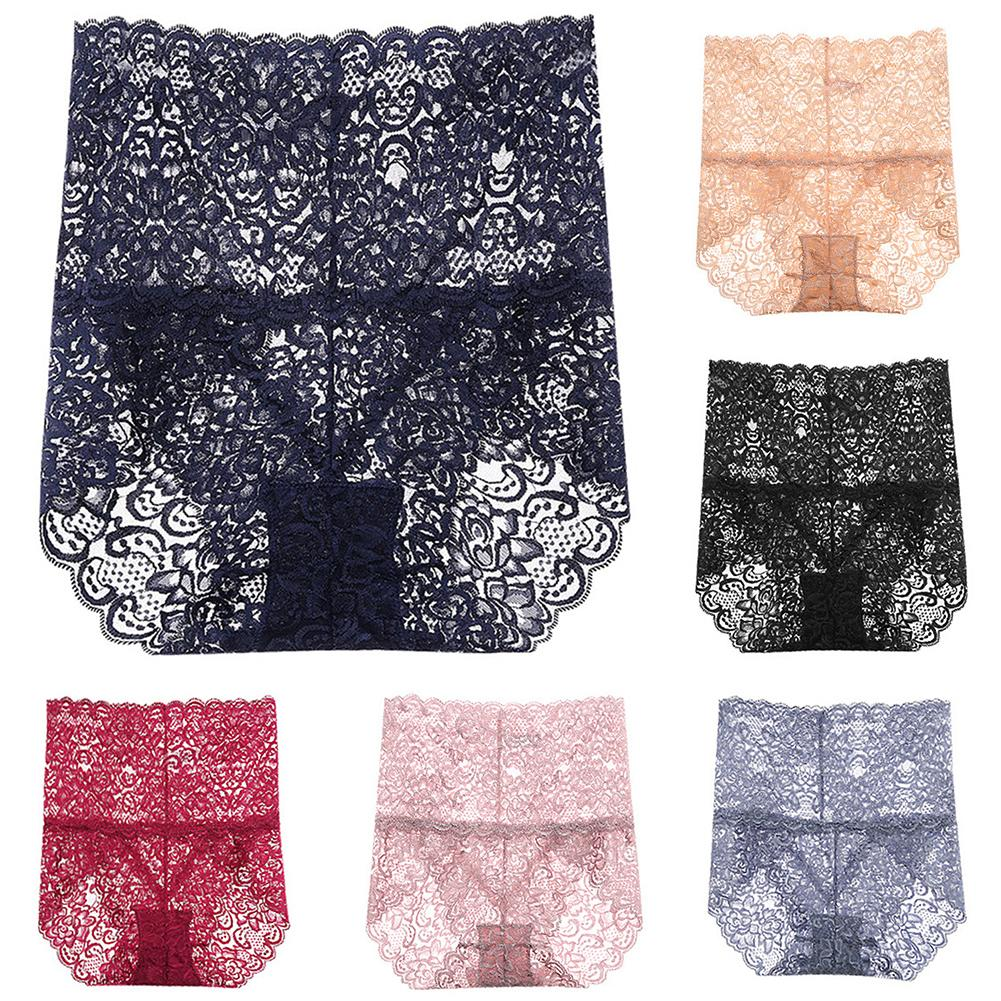 Sexy Women Lace Hollow See-through High Waist Cotton Panty Solid Women's Panties Comfort For Women Sexy Low-Rise Panty
