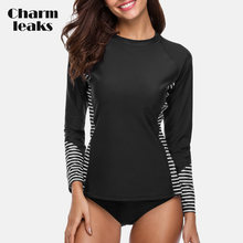 Charmleaks Vrouwen Rash Guard Badmode Lange Mouw Rashguard Fietsen Shirts Surf Top Rushguard Running Shirt Badpak UPF 50 +(China)