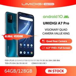 Смартфон UMIDIGI A7 Pro, глобальная версия, четыре камеры, Android 10, 6,3-дюймовый FHD + полноэкранный дисплей, 64 ГБ/128 Гб ПЗУ, LPDDR4X восемь ядер, в наличии