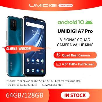 Перейти на Алиэкспресс и купить Смартфон UMIDIGI A7 Pro, глобальная версия, четыре камеры, Android 10, 6,3-дюймовый FHD + полноэкранный дисплей, 64 ГБ/128 Гб ПЗУ, LPDDR4X восемь ядер, в наличии