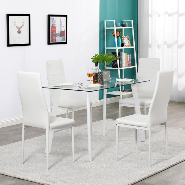5 Piece White Dining Table Set  5