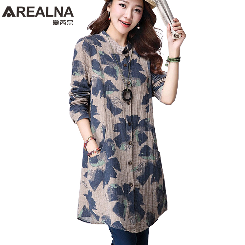 Ladies Long Tops Women Tunic Vintage Floral Cotton Linen Kimono Cardigan Women's Long Blouses New Korean Fashion Clothing Blusas