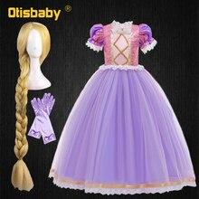 Платье принцессы Рапунцель для девочек, Рождество, Хэллоуин, спутанные костюмы, детские кружевные платья с блестками на день рождения для д...