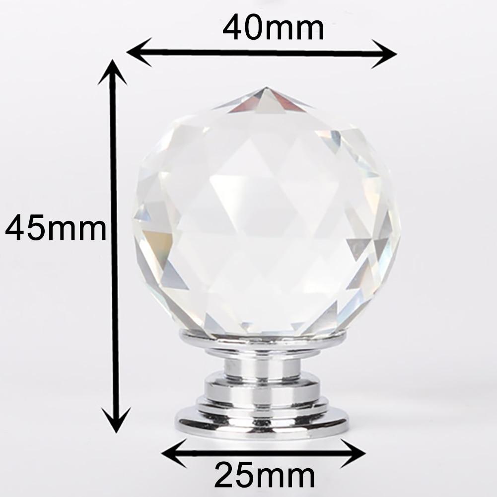 20 Вт, 30 Вт, 40 мм с украшением в виде кристаллов Стекло дверные ручки шкафа Кухня номер шкаф, буфет, ящик ручка платяного шкафа мебельная фурнитура