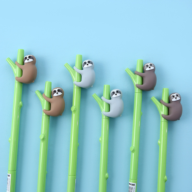 3pcs Tree Sloth Pen Ballpoint 0.5mm Black Color Gel Ink Pens For Writing Green Branch Cute Bradypus Animal Office School A6977
