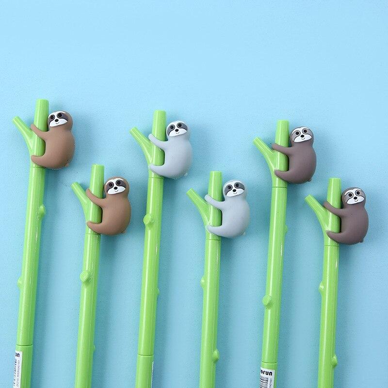 3pcs Tree Sloth Pen Ballpoint 0.5mm Black Color Gel Ink Pens For Writing Green Branch Cute Bradypus Animal Office School A6977