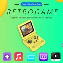 V90 mini handheld console flip open source handheld 64-bit clássico retro arcade game console mini jogador de vídeo