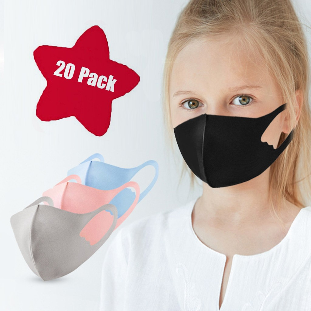 7PC Ice Silk Dustproof Windproof  Cotton Cute Cartoon Children Masks Breathable Respirator Kids Face Mask Mascarillas Masque