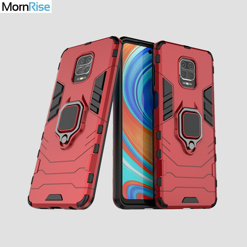 Hybrid Rugged Armor For Xiaomi Redmi <font><b>Note</b></font> <font><b>9</b></font> Pro / <font><b>9</b></font> Pro Max <font><b>Case</b></font> Kickstand <font><b>With</b></font> Metal Finger <font><b>Ring</b></font> Shock Proof Cover Phone <font><b>Case</b></font> image