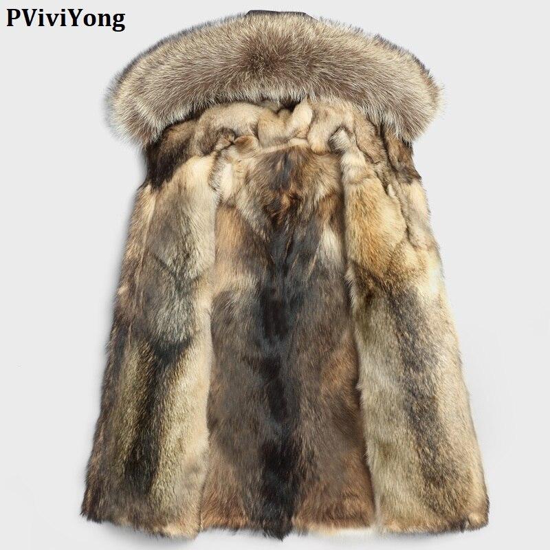 PViviYong 2019 Winter High Quality Real Leather Jacket Men,Raccoon Fur Collar Wolf Liner Real Fur Coat Men Parka P-12-15002