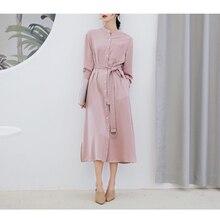 Women Casual Shirt Dress Solid Pink Color Long Dresses 2019 Loose  Split Vestidos Fashion