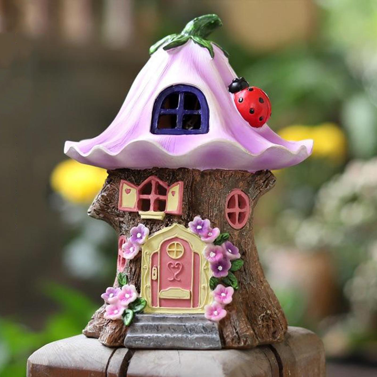 Craft Miniature Fairy House Solar Powered Outdoor Decor LED Garden Light Yard Walkway Decoration Led Light