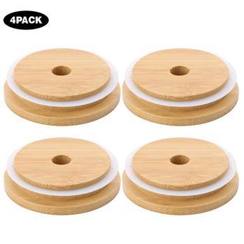 4 szt Słoiki do zapraw bambusowa pokrywka wielokrotnego użytku słoiki pokrywki 70MM 88MM słoiki do zapraw butelki do przechowywania bambusowe pokrywy pokrywy ze słomkowym otworem tanie i dobre opinie Other Mason jar bamboo wood lid Na stanie Ekologiczne Pokrywa z otworem