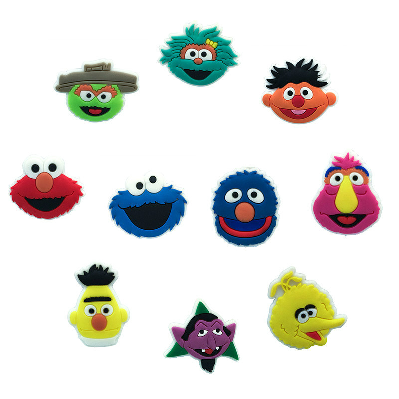5pcs/lot Sesame Street PVC Shoe Charms Shoe Accessories Decoration Shoe Buckle Fit Band Bracelets Croc JIBZ Small Gift For Kids