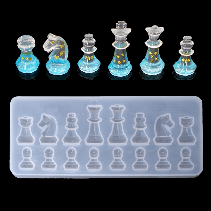 International Chess Shape Silicone Mold DIY Clay Epoxy Resin Mold Pendant  Molds X3UA