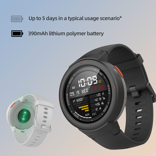 Amazfit Verge Sport Smartwatch GPS Bluetooth Microphone Speaker Pedometer Message Push Heart Rate 4