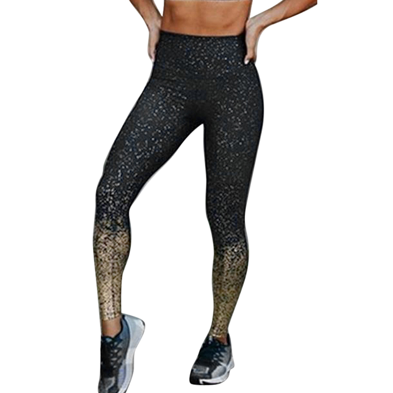 New Hot Women Yoga Pants High Waist Glitter Slim Trousers Stretchy Push Up Sportwears Running Fitness Gym Clothes Sport Leggings
