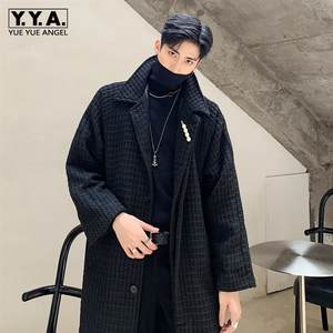 New Brand High Quality Woven Medium Length Mens Woolen Trench Coats Fashion Single Breasted Sashes Loose Fit Outerwear Coats