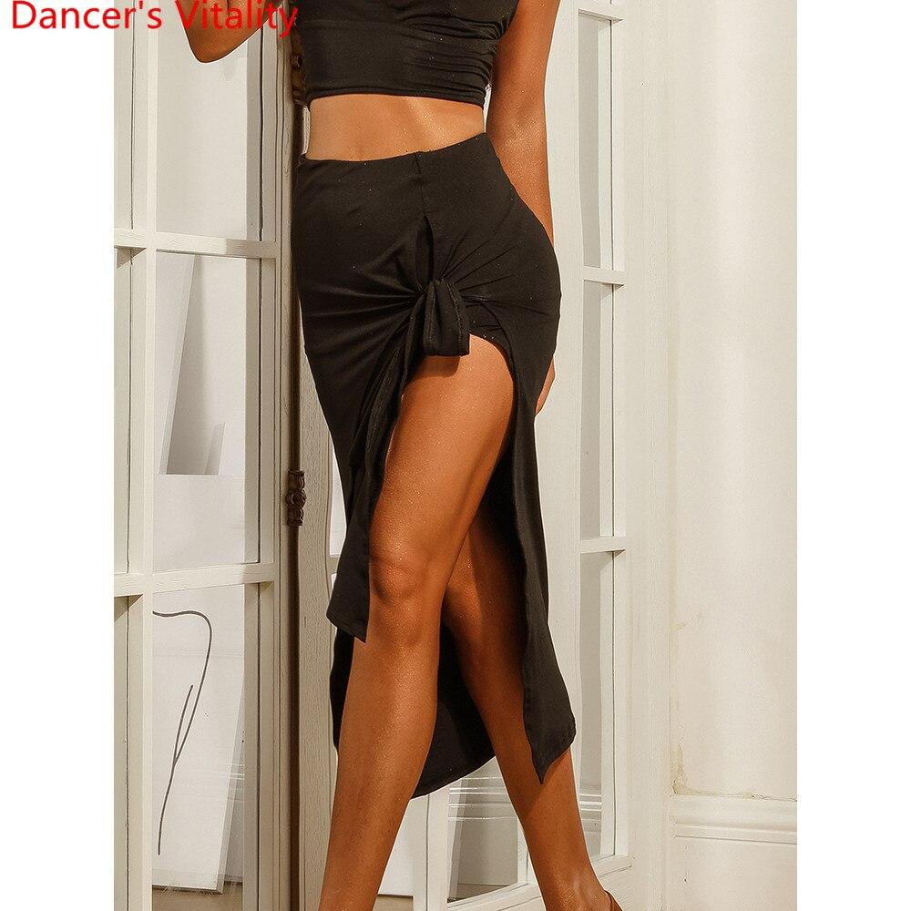Latin Dance Adult Women Practice Clothes Bandage Irregular Skirt Samba Foxtrot Quickstep  Cha Cha Dancing Competition Outfits