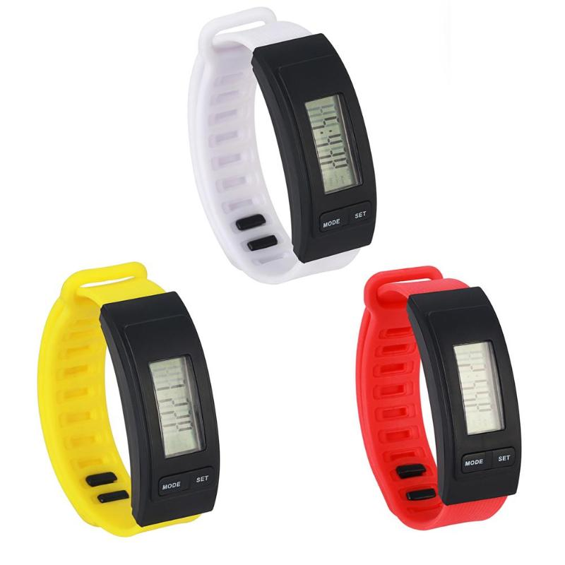 Waterproof Sport Watches Sports Simple Flexible Durable Currency LED Unisex Silicone Band Wristwatches Pedometer Watch