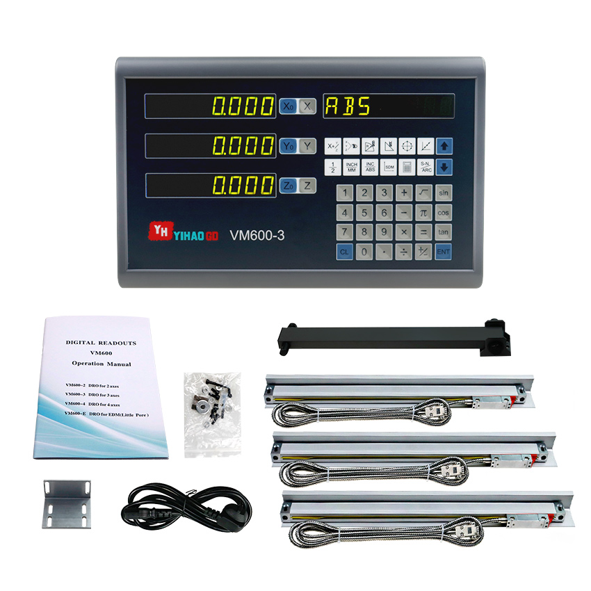 Mill Lathe Tools 3 Axis Dro Set/Kit with 3 PCS Linear Optical Dimensions 400 500 600 700 800 900 1000 Free Shipping|Level Measuring Instruments| |  - title=