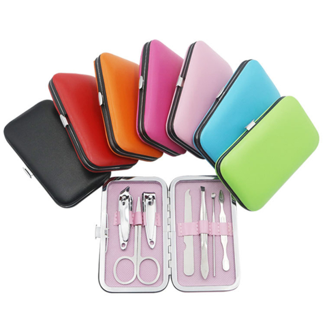 7pcs/set Stainless Steel Manicure Nail Clippers Pedicure Set Travel Hygiene Kit Stainless Steel Nail Cutter Tool Set