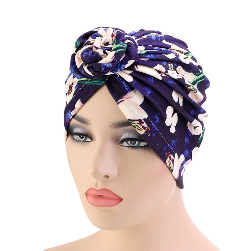 Women Turban Cap Ethnic Vortex Pattern beanie Knotted Headwrap Fashion Warm Bandana Hats