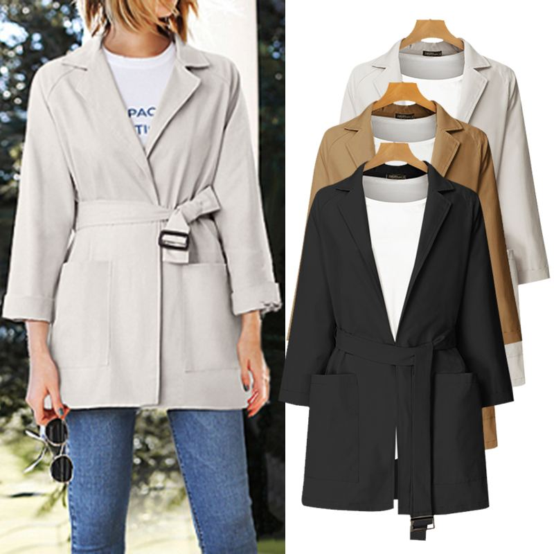 ZANZEA 2020 Fashion Women Belted Blazers Office Lady Work OL Blazers Retro Lapel Neck Coats Female Casual Solid Jackets Outwear