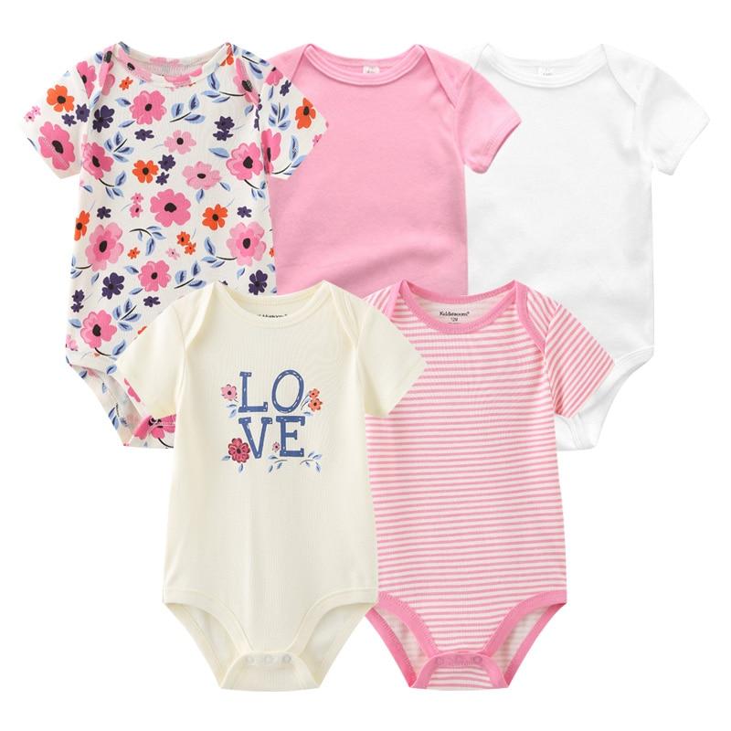 2021 Unisex 5PCS Baby Girl Clothes Cotton Bodysuits Newborn Baby Boy Clothes Cartoon Print Girls Baby Clothing Ropa Bebe 6