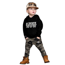 Boys Handsome Camouflage Clothes Set Kids Autumn Black Hooded Sweatshirts Children Army Green Trousers Outfits New цена