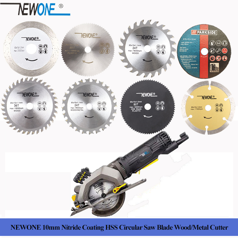 NEWONE 10mm Wood/Metal Cutter Nitride Coating HSS Circular Saw Blade 60T/80T TCT Wood Cutting Disc Saw Blade