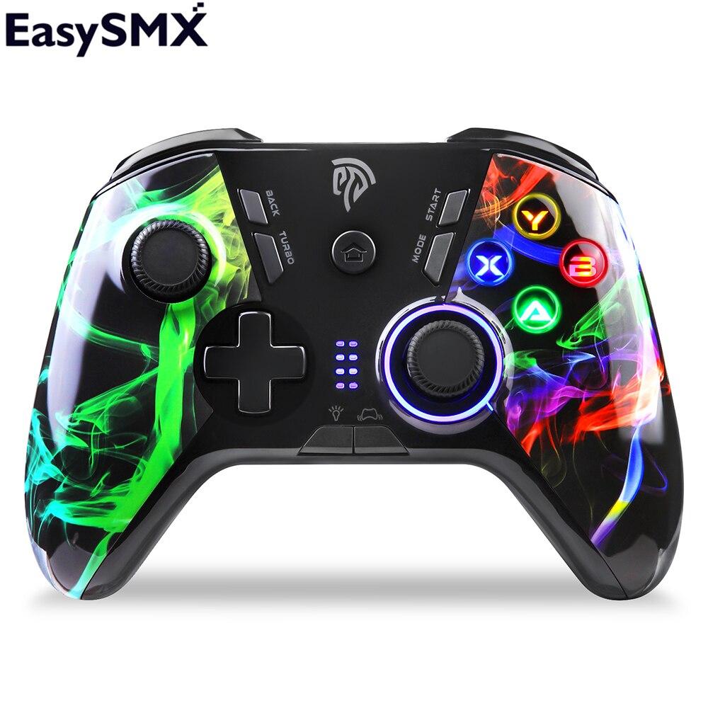 Беспроводной геймпад EasySMX, джойстик, контроллер для ПК, Windows 7/8/10, Android TV/TV Box PS3, светодиодные вибрирующие кнопки на заказ